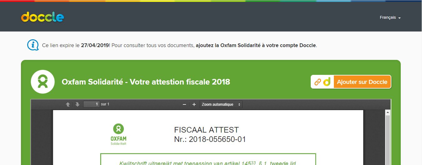 Oxfam attestation fiscale